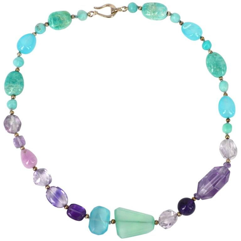 Amazonite Amethyst Kunzite Chalcedony Silver Necklace For Sale