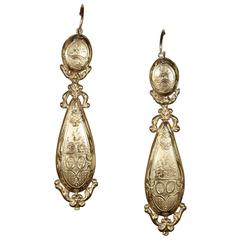 French Grand Neoclassical Gold Earrings