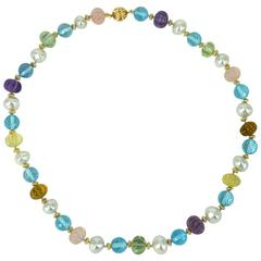 Decadent Jewels South Sea Pearl Blue Topaz Carved Amethyst Quartz Gold Necklace