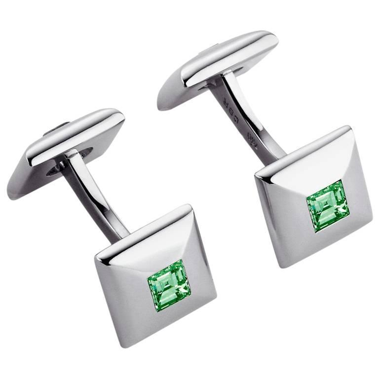 tsavorite white gold cufflinks for sale at 1stdibs