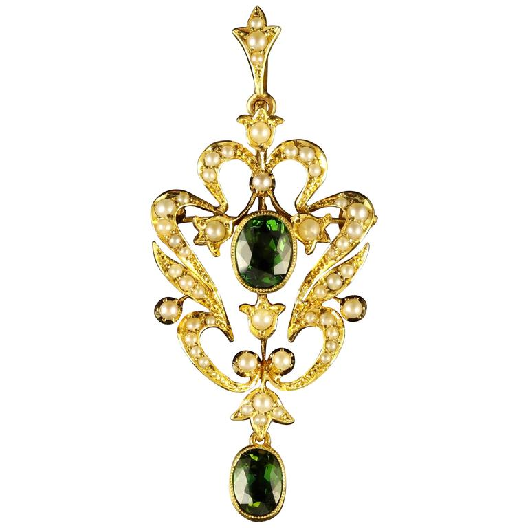 Antique Victorian Demantoid Green Garnet Pendant 15 Carat Gold Brooch