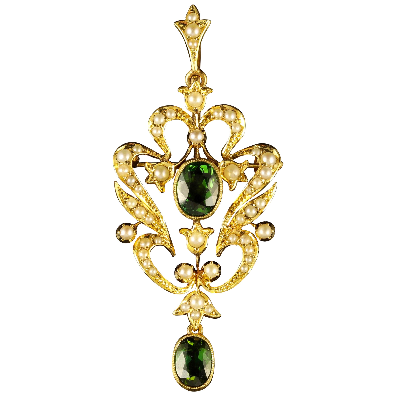 3ad973b123ecd Antique Victorian Pendant Green Tourmaline 15ct Gold Brooch Circa 1900