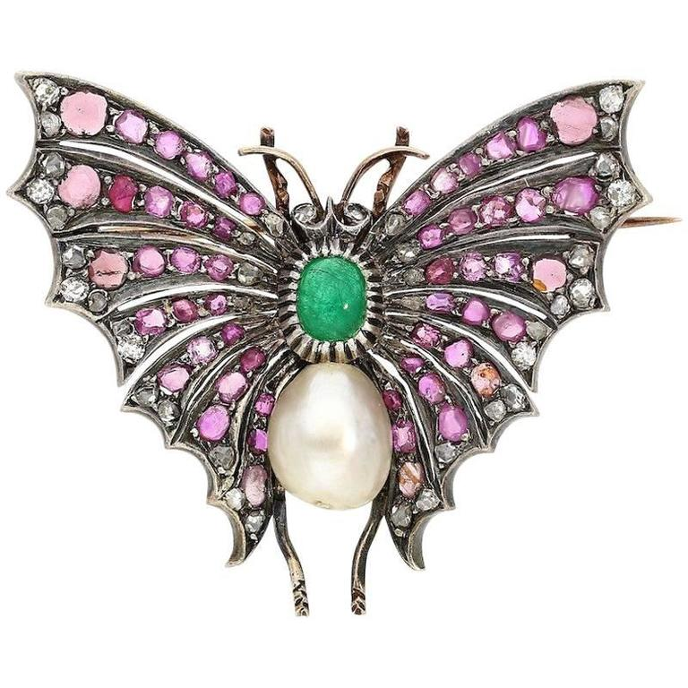 Victorian Era Emerald, Pearl, Diamond and Ruby Butterfly Brooch Pin