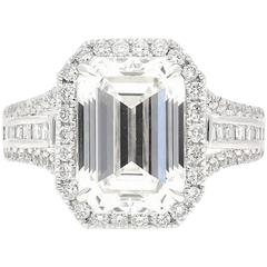 5.09 Carat GIA Certified Emerald Cut Diamond White Gold Ring