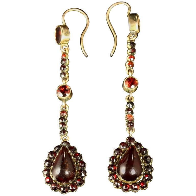 Antique Victorian Garnet Gold Long Earrings, circa 1900