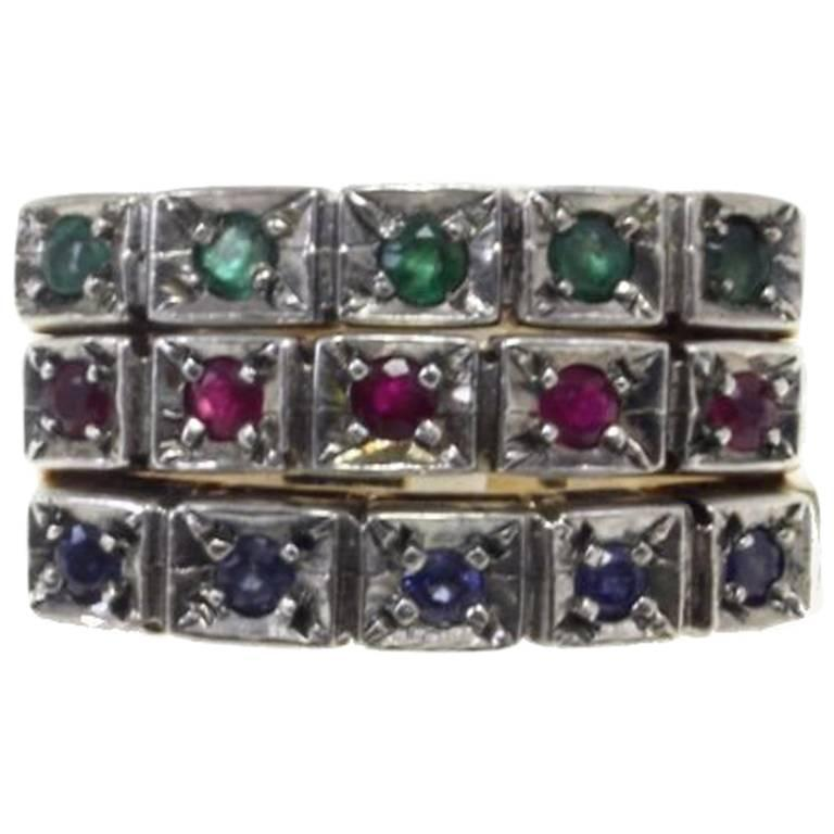 Luise Gold Silver Emerald Ring