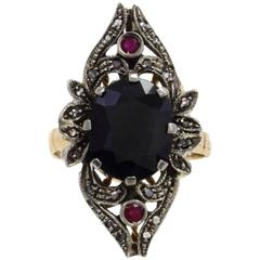 Luise Gold Silver Diamond Ruby Cocktail Ring