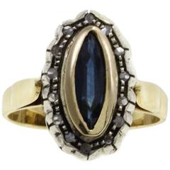 Luise Gold Silver Diamond Sapphire Ring