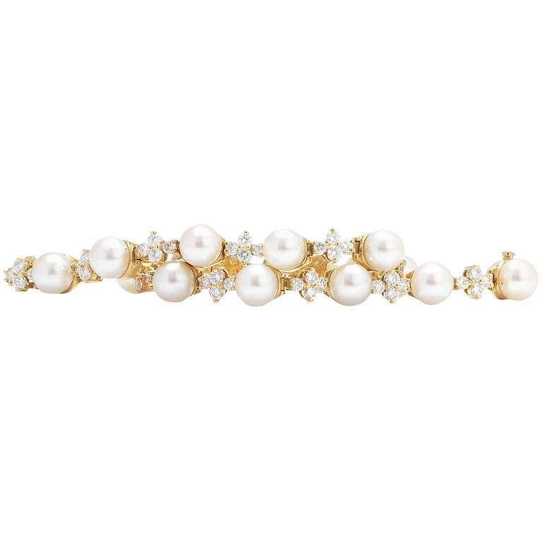 Tiffany & Co. Aria 1.68 Carat Diamond Cultured Pearl Yellow Gold Bracelet