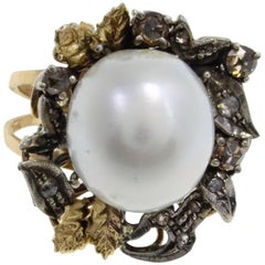 Gold Silver Diamond Australian Pearl Ring