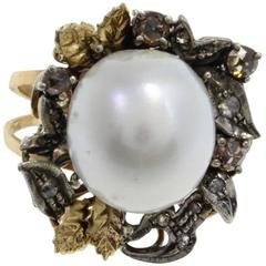 Luise Gold Silver Diamond Pearl Ring