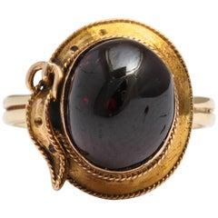 English Cabochon Garnet Gold Buckle Ring, circa 1880