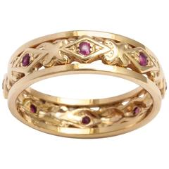 Ruby rose Gold Band ring, circa 1890