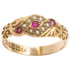 Gold Ruby and Seed Pearl Ring