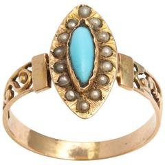French Turquoise Gold and Pearl Ring, 19th Century