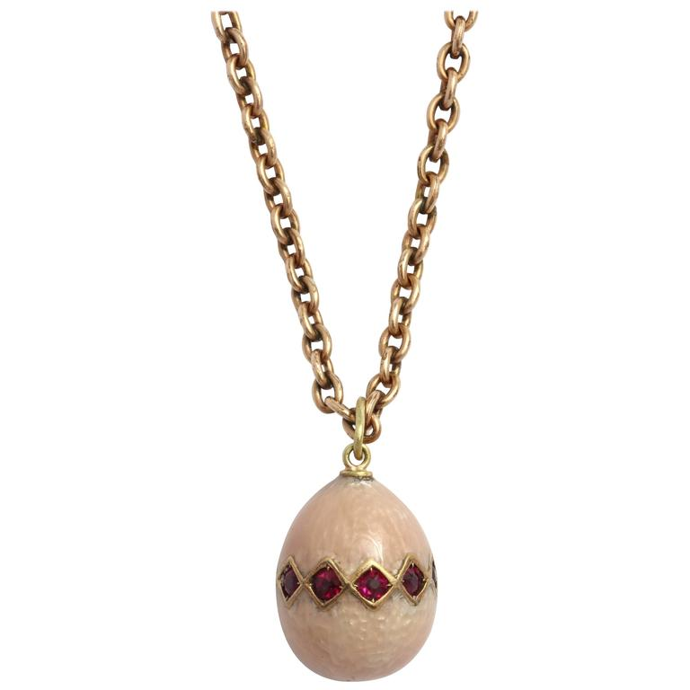 Russian Enameled and Ruby Egg Pendant, circa 1900