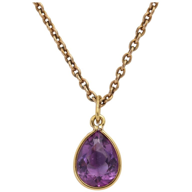 Amethyst Gold Pendant For Sale