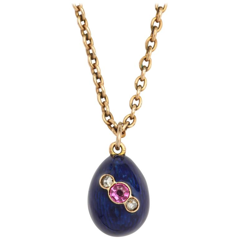 Russian Blue Enameled, Ruby and Diamond Egg Pendant, circa 1900