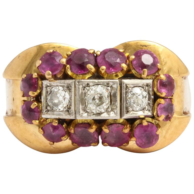 French Ruby Diamond Gold Ring, 1940s