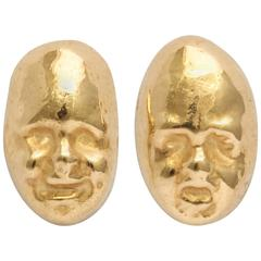 Gold Theatrical Mask Earrings