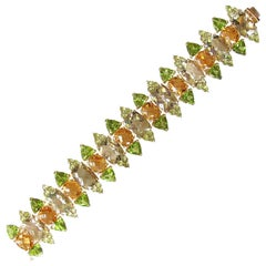 Sensational Tony Duquette Green Amethyst Peridot Citrine Runway Gold Bracelet