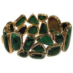 Tony Duquette Malachite Diamond Gold Statement Bracelet