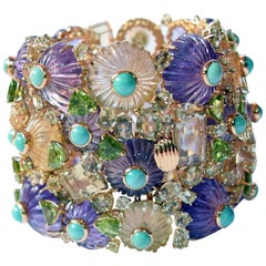 Tony Duquette Amethyst Citrine Peridot and Turquoise Gold Statement Bracelet