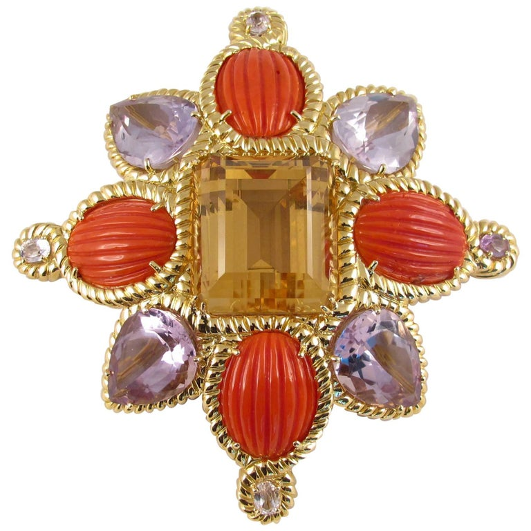 Tony Duquette 146 Carat Citrine Coral Amethyst and Kunzite Gold Brooch Pin