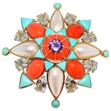 Tony Duquette Coral Turquoise Mabe Pearl Aquamarine Amethyst Gold Brooch Pin