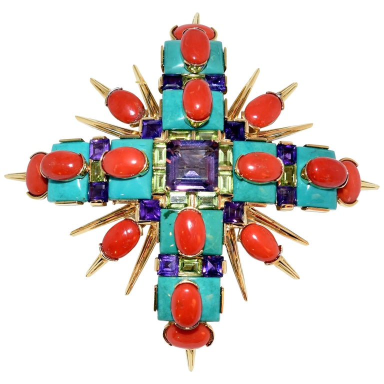 Tony Duquette Turquoise Coral Amethyst Peridot Gold Statement Brooch Pin