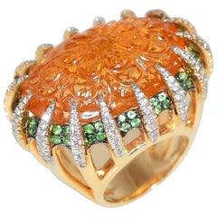 39.60 Carat Carved Citrine Diamond Tsvorite Tony Duquette Gold Ring