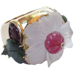 17 Carat Crystal Ruby Jade Diamond Tony Duquette Statement Gold Ring