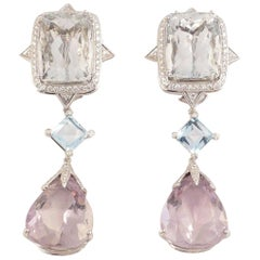 Exquisite Tony Duquette Aquamarine Diamond Topaz and Kunzite Gold Drop Earrings