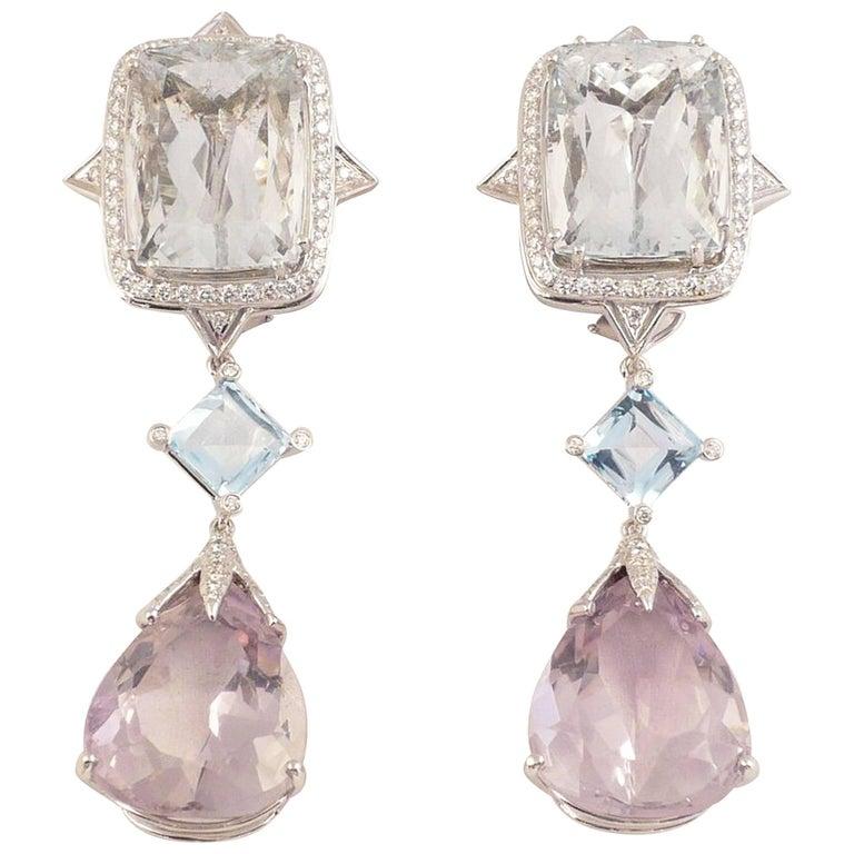 Exquisite Tony Duquette Aquamarine Diamond Topaz and Kunzite Gold Drop Earrings