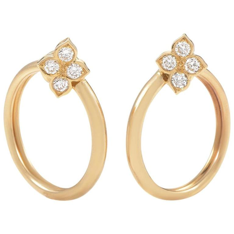 Cartier Diamond Yellow Gold Flower Clip-On Hoop Earrings