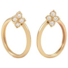 Cartier Diamond Yellow Gold Flower Clip-On Hoop Earrings