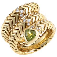 Bulgari Spiga Peridot Diamond Yellow Gold Ring