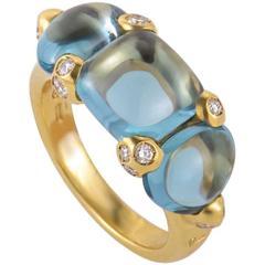 Pomellato Sassi Diamond Topaz Yellow Gold Band Ring