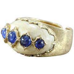 Buccellati Sapphire Carved Bone Gold Ring