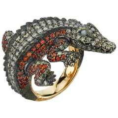 Orange Sapphire Cat Eye Diamond Gold Alligator Ring