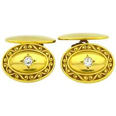 Tiffany & Co. Antique Gold Cufflinks with Old Cut Diamonds
