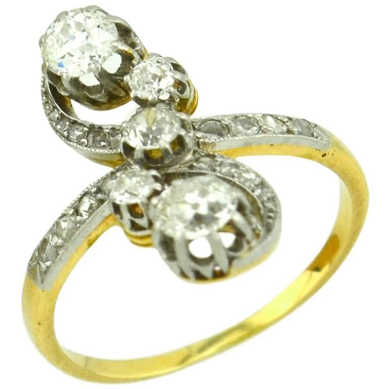 Antique Old European Cut and Rose Cut Diamond Yellow Gold Ring