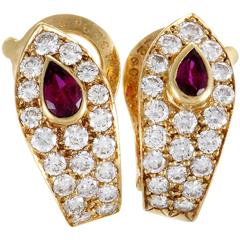 Van Cleef & Arpels Diamond Ruby Yellow Gold Clip-On Earrings