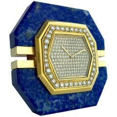 1980 Boucheron Diamond Lapis Lazuli Gold Clock