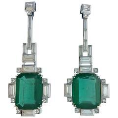 26.35 Carat Emeralds Diamond White Gold Pendant Earrings
