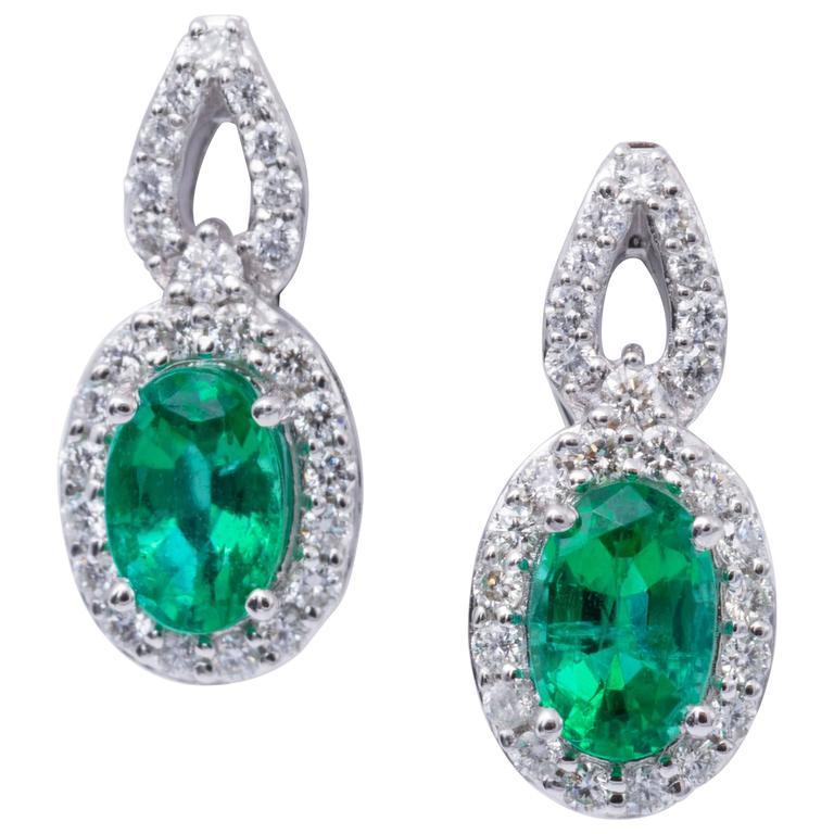Emerald Diamond Gold Stud Drop Earrings