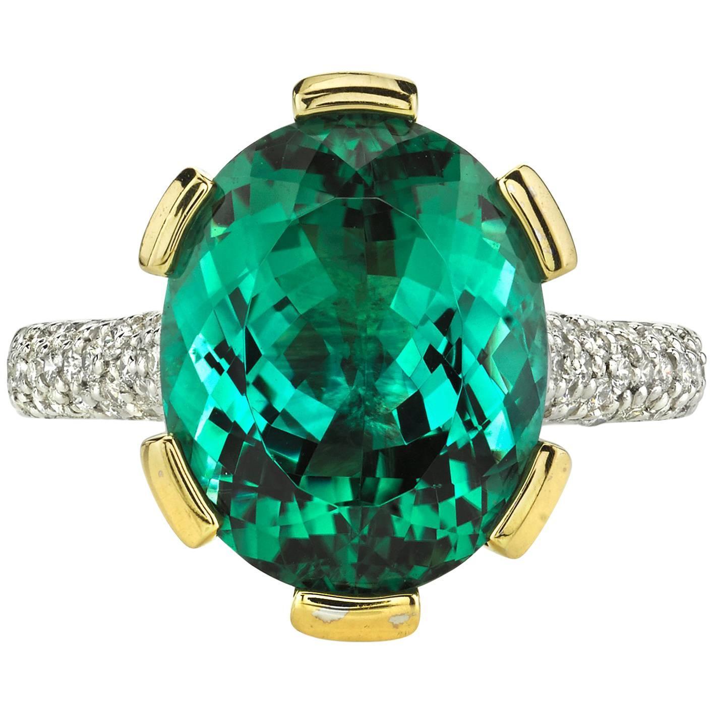 GIA Certified Blue-Green Tourmaline Diamond Gold Cocktail Ring