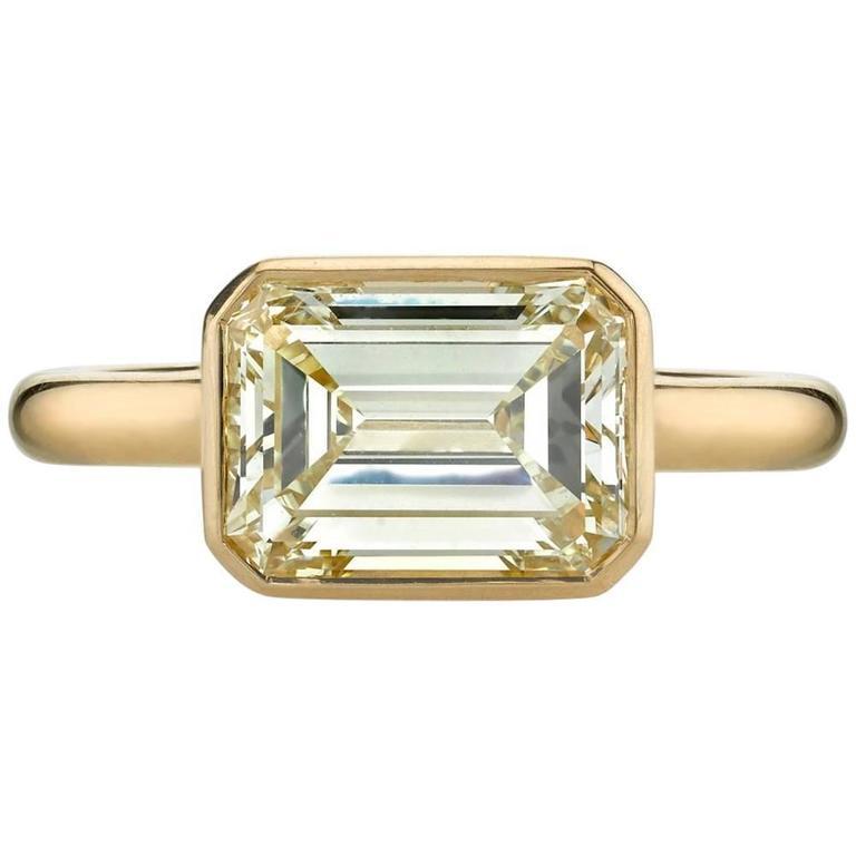 Emerald Cut Diamond Yellow Gold Engagement Ring