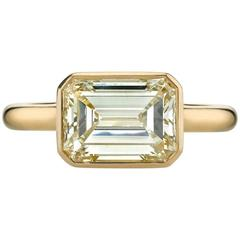 Emerald Cut Diamond Yellow Gold Engagement Ring