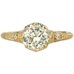 Old European Cut Diamond Yellow Gold Engagement Ring
